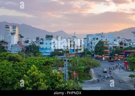 Nha Trang, Vietnam - August 30, 2018: The beautiful sunset sky over the city on August 30, 2018 in Nha Trang, Vietnam - Stock Image