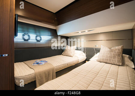 Southampton, UK. 11th September 2015. Southampton Boat Show 2015. Interior of the Princess S65 world launched at - Stock Image