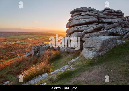 Sunset from Pew tor Dartmoor national park Devon Uk - Stock Image