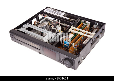 Open Video Cassette Recorder isolated on white background - Stock Image