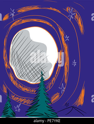 Moon and pine trees.  illustration of moon and orange circles in the jungle. - Stock Image