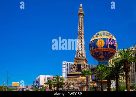The Paris Las Vegas Hotel and resort on Las Vegas Boulevard, The Strip, Nevada - Stock Image