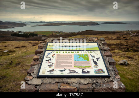Coastal wildlife information sign, Brae of Achnahaird, west coast of Scotland. - Stock Image