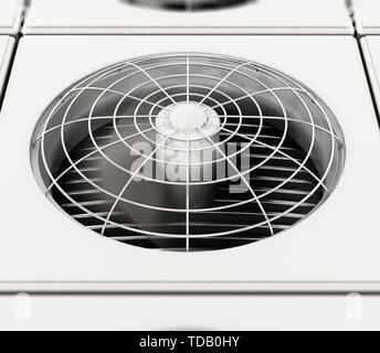 Air conditioner unit with turning fan. 3D illustration. - Stock Image