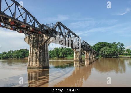 Railway bridge over the River Kwai, Khwae Yai River, Kanchanaburi, Kanburi, Kanchanaburi Province, Central Thailand, Thailand - Stock Image