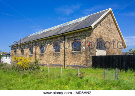Former railway goods shed at the site of closed Abersychan and Talywain Station, Torfaen, Wales, UK, built by the London and North Western Railway. - Stock Image