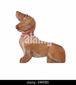 vintage dog dachshund wooden painted collar figurine isolated on white, clipping path - Stock Image