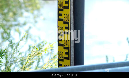 Water level table on the Elbe - Stock Image