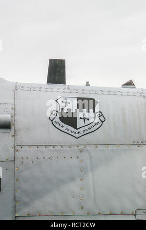 Seek Attack Destroy, motto of 52nd Fighter Wing (52 FW) of the United States Air Force stationed at Spangdahlem Air Base, Germany. Emblem on A-10 jet - Stock Image