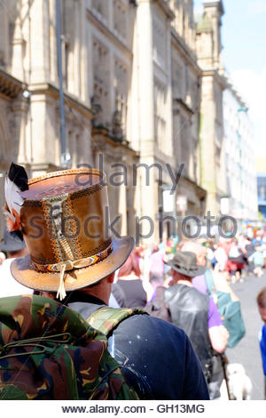 Nottingham, England. 07 August 2016  Leather top hat with a rattle snake tail.  Pagan Pride parade sets off from - Stock Image