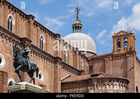 Equestrian statue of Bartolomeo Colleoni in Campo Santi Giovanni e Paolo; Venice, Italy - Stock Image