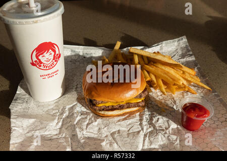 A Wendy's Dave's Double cheeseburger combo, consisting of a double cheeseburger, fries, and a beverage at their location in Amsterdam, NY USA - Stock Image