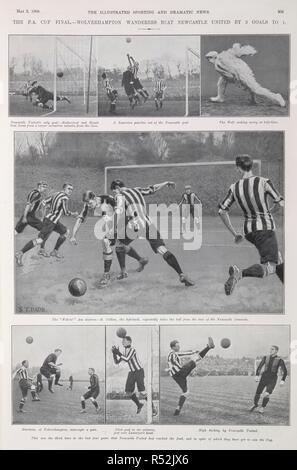 'The F.A. Cup final - Wolverhampton Wanderers beat Newcastle United by 3 goals to 1'. The illustrated sporting and dramatic news. May 2, 1908. Source: The illustrated sporting and dramatic news. Page 305. - Stock Image