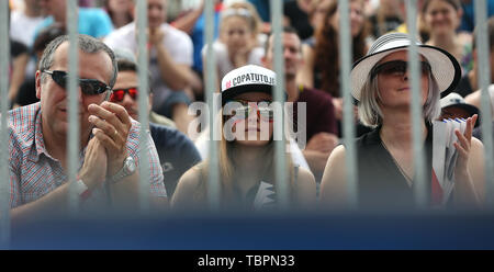 Ostrava, Czech Republic. 01st June, 2019. Fans are seen during the four-star J&T Banka Ostrava Beach Open 2019, part of the FIVB Beach Volleyball World Tour, in Ostrava, Czech Republic, on July 1, 2019. Credit: Petr Sznapka/CTK Photo/Alamy Live News - Stock Image