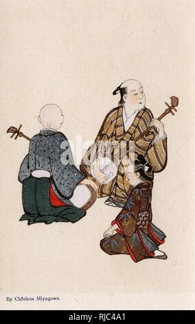 A young girl listens to two Koto Players by Miyagawa Choshun (1683-1753). - Stock Image