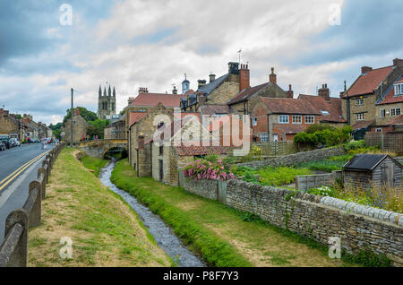 Market Place bridge over the stream in Helmsley North Yorkshire - Stock Image
