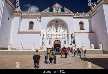 Entrance to the Basílica de Nuestra Señora church in Copacabana, Bolivia - Stock Image