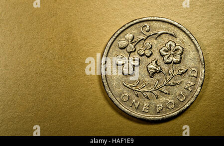 One pound English currency coin in a macro close-up on a rich luxurious golden background. Copyspace area for finance, - Stock Image