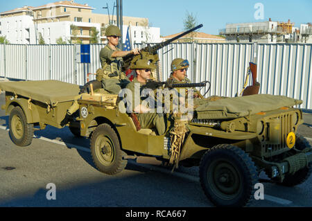 Willys MB with a cal.50 (12.7 mm) machine-gun during the 74th Anniversary of Operation Dragoon, Provence, French Riviera (15 - 26 Aug 1944) - Stock Image