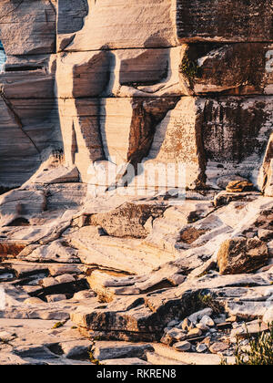 Ruins of the Aliki quarry on the shore of Thasos island (Thassos), Greece - Stock Image