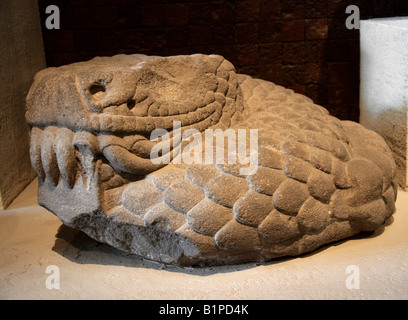 Statue of Quetzalcoatl the Aztec Feathered Snake God, National Museum of Anthropology, Chapultepec Park, Mexico - Stock Image