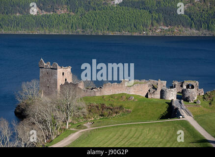 Urquhart Castle by the shores of Loch Ness from the A82 road near Drumnadrochit, Invernesshire. Highland Region. - Stock Image