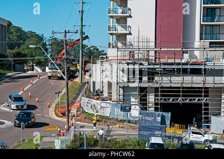 Gosford, Australia - March 27. 2018: Building progress on a block of new home units under construction at 47 Beane St. New South Wales, Australia.  PL - Stock Image