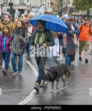 The People's Walk for Wildlife animal rights demonstration central London 22nd september in heavy rain - Stock Image