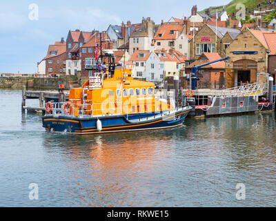 Whitby life boat and lifeboat station. - Stock Image