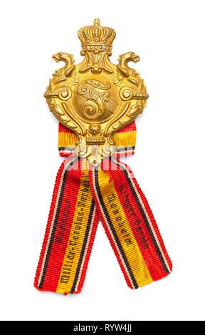 World War One Veteran Membership Badge Isolated on White. - Stock Image