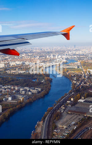 Paris (France) - View from the plane - Stock Image