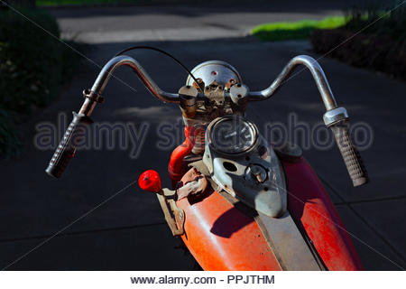 1942 Harley Davidson WLA 750 (42WLA) Motorcycle - 3 Speed Hand Operated Gears, foot clutch, Australian Redback Spider gear knob - Stock Image