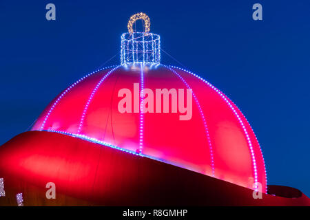 The DOT in the town of Groningen in the Netherlands turns in the month December in to the largest Christmas ball in the world. - Stock Image
