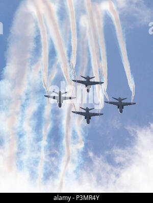 Midnight Hawks aerobatic team performing at the 100 years anniversary Air Show of the Finnish Air Force at Tikkakoski, Finland on 16 June 2018. - Stock Image