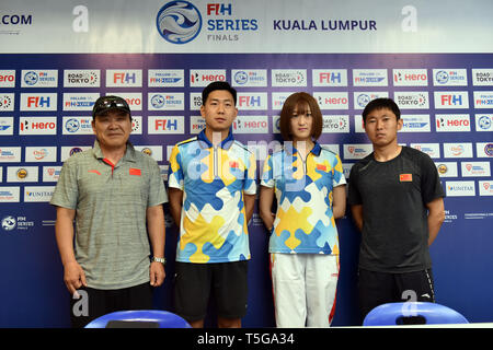 Kuala Lumpur. 24th Apr, 2019. Chinese team head coach Kim Sang Ryul (1st L) and captain Du Chen (1st R) attend the press conference ahead of the FIH Men's Series Finals Kuala Lumpur 2019 match in Kuala Lumpur, April 24, 2019. Credit: Chong Voon Chung/Xinhua/Alamy Live News - Stock Image