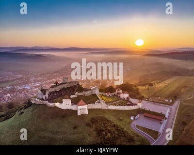 Rupea Fortress in Transylvania, Romania icon and one of the most visited tourist attractions - Stock Image