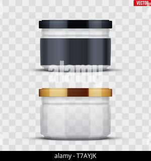 Set of Transparent Glass Jars with label for canning and preserving. Metal cover lid. Homemade kitchen conservation fruits and vegetables. Vector Illu - Stock Image