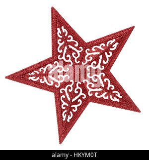 Red star on white background - Stock Image
