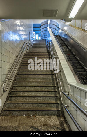Berlin Kreuzberg Prinzenstrasse U-Bahn Underground railway station  stairs from raised platform - Stock Image