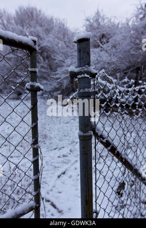 Open gate, Winter scene in Connecticut, USA - Stock Image