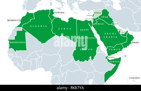 Arab League political map. League of Arab States, location in North Africa and Arabia. Regional organization of 22 member states. Syria is suspended. - Stock Image