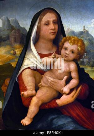 'Madonna con bambino' Mary with Boy Christ by Giovanni Francesco Caroto (1480 – 1555 or 1558) Italian Italy - Stock Image