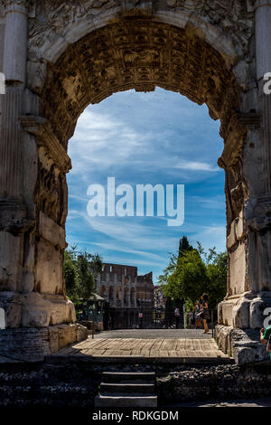 Rome, Italy - 24 June 2018: Arch of Titus on the via sacra at the roman forum in Rome, Italy - Stock Image