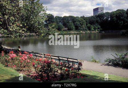 Crookes Valley park public gardens and boating lake with university tower block in distance, Sheffield, Yorkshire, England - Stock Image