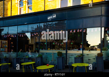 North Bar an American style bar in Harrogate North Yorkshire in evening light - Stock Image