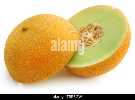 Brilliant honeydew melon over white background - Stock Image