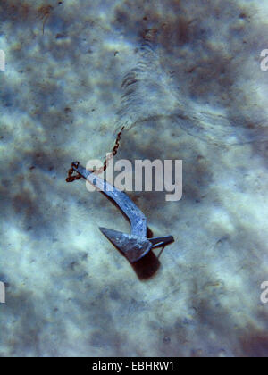 Anchor from a scuba diving ship in the Blue Lagoon, near Cape Greco, Cyprus. - Stock Image