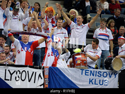 Prague, Czech Republic. 10th Nov, 2018. Czech fans in action during the 2018 Fed Cup final match between Czech Republic and USA at the O2 arena in Prague, Czech Republic, on November 10, 2018. Credit: Katerina Sulova/CTK Photo/Alamy Live News - Stock Image