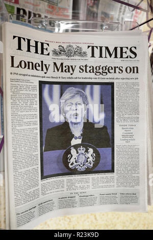 The Times newspaper headline 'Lonely May staggers on' with Brexit deal in London 16 November 2018 - Stock Image