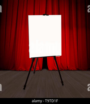 Blank presentation flipchart standing in front of red curtain 3d illustration - Stock Image